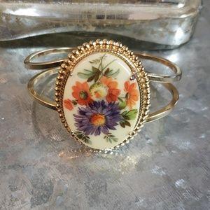 Vintage antique floral bracelet cuff